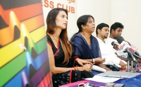 Actor and model Malaika with film director Vijaya Padma at a press meet