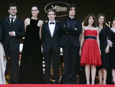 Christophe Honore (L) s with Clotilde Hesme, Gregoire Leprince-Ringuet, Louis Garrel, Ludivine Sagnier and Chiara Mastroianni (2nd L - R)- -Les Chansons d-Amour