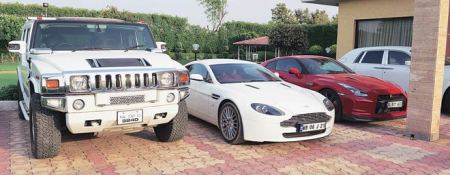 The fleet of cars recovered from south Indian actress Leena Maria Paul's farmhouse
