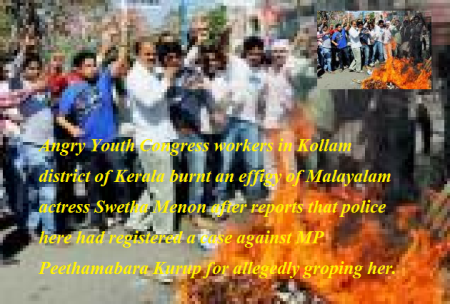Congress workers burn the effigy of Swetha Menon