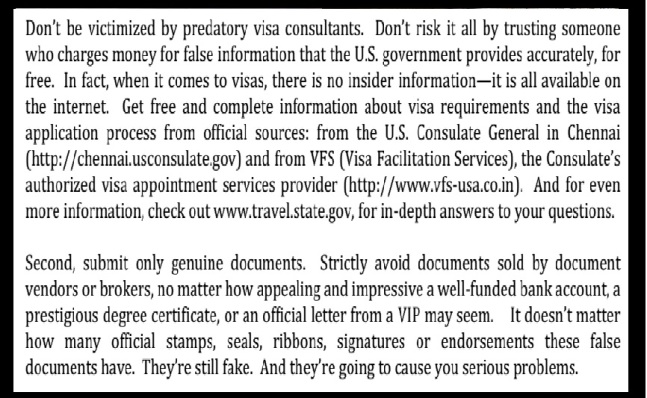 US warning for submitting fake documents