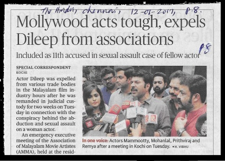 Mollywood acts tough against Dileep - The Hindu- 12-07-2017